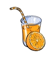 Glass of freshly squeezed juice with orange half vector image
