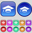 Graduation icon sign A set of twelve vintage vector image