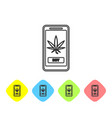 grey line mobile phone and medical marijuana or vector image vector image