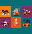 halloween symbols set funny skeleton traditional vector image