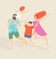 happy family with two children on beach vector image