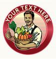 happy farmer badge show his crop vector image vector image