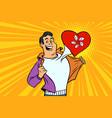 hong kong patriot male sports fan flag heart vector image vector image