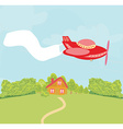 landscape with plane and banner vector image