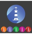 Lighthouse icon flat web sign symbol logo label vector image vector image