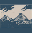 mayan pyramids retro poster vector image vector image