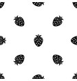 one strawberry berry pattern seamless black vector image vector image