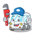 plumber ambulance mascot cartoon style vector image