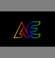 rainbow color colored colorful alphabet letter ae vector image vector image