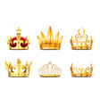 realistic crown and tiara golden royal crowns vector image