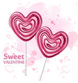red heart lollipop candy watercolor sweet vector image vector image