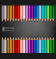 rows of rainbow colored pencils on dark grey vector image vector image