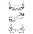 rustic ribbon banner with flowers hand drawn vector image vector image