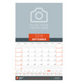 september 2018 wall monthly calendar planner for vector image vector image
