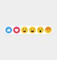 set cute cartoon face emoticons collection vector image