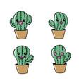 set kawaii cute tender cactus plant vector image