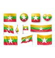 set myanmar flags banners banners symbols flat vector image