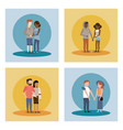 set of man and woman couple vector image