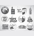 set vape e-cigarette logo emblems and badges vector image vector image