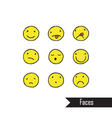 Smile icons different characters freehand drawin vector image vector image