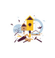 spring starling sitting on wooden birdhouse vector image vector image