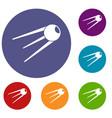 sputnik icons set vector image vector image