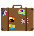 suitcase with stickers vector image