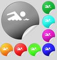 Swimming sign icon Pool swim symbol Sea wave Set vector image vector image
