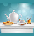 teapot honey jar realistic set vector image