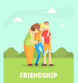 three smiling best male friends walking and vector image vector image