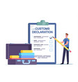 tiny airport security customs officer character vector image