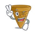 two finger cartoon ice cream wafer cone vector image