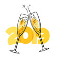 two glasses of champagne on the 2019 background vector image