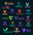 v letter icons colorful corporate identity signs vector image