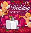 wedding marriage party invitation hearts flowers vector image vector image