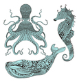 Zentangle stylized Octopus Whale and Sea Horse vector image vector image