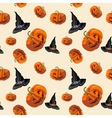 Halloween pumpkins and hat witches pattern vector image