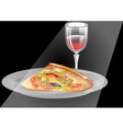 wine and pizza vector image