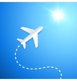 Paper plane flying to the sun vector image