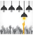 Man points to light bulb idea vector image