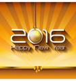 2016 Happy New Year Gift greeting card with gold vector image vector image