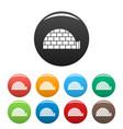 alaska igloo icons set color vector image vector image