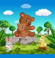 bear and baby bear in the forest vector image vector image
