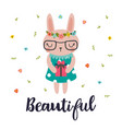 beautiful cute little bunny romantic card vector image