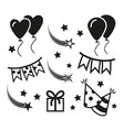 birthday party icons mono symbols vector image