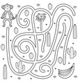 black and white maze game for kids coloring page vector image
