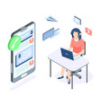 call center isometric concept support customer vector image