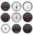 car dashboard gauges with metal frame collection vector image vector image