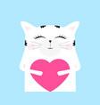 cartoon cat drawing cute funny beast on a card vector image vector image