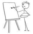 cartoon man artist painting on canvas vector image